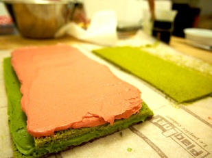 And the layering continues with a raspberry buttercream