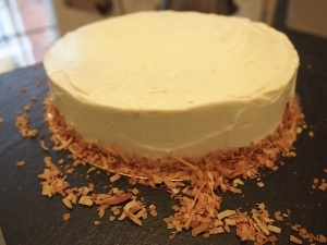 Vanilla & lemon cream cheese frosting and toasted coconut