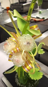 Chef J's sugar sculpture. I hope that one day I will be able to pull perfect sugar ribbons like that!